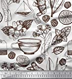 Soimoi Weiß modaler Satin Stoff Tasse Tee, Zitrone und