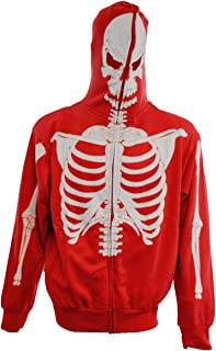 Full-Zip Up Glow in The Dark Red Skeleton Sweatshirt Hoodie Costume