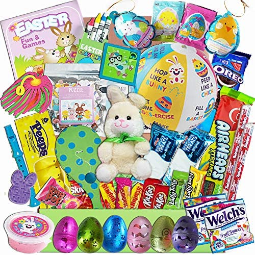 Kids Easter Care Package Games Activities Beach Ball Candy Snacks Toys Plush Bunny Basket Fillers product image