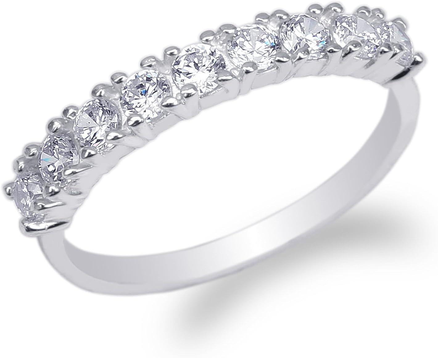 JamesJenny Womens 10K White Gold Round CZ Beautiful Eternity Band Ring Size 4-9