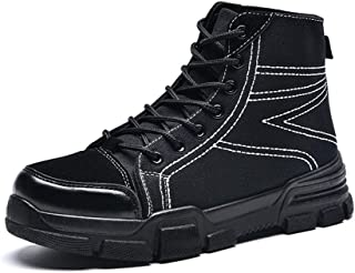 CHENDX Shoes, Men's Fashion Winter Thick Heel Boots Casual Youth Classic High Top British Style Shoes (Color : Black, Size : 8 UK)