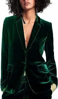Women 1 Button Velvet Blazer Coat Slim Fit Casual Lapel Office Jacket Suit