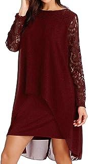 61abd44a1f490 FAPIZI Women Solid O-Neck Asymmetrical Hem Lace Chiffon Long Sleeve Casual  Overlay Plus Size