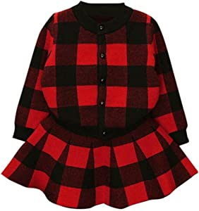 SHOBDW Girls Clothing Sets  Toddler Kids Baby Girls Autumn Winter Plaid Knitted Sweater Coat Tops Skirt Outfit Clothes Set