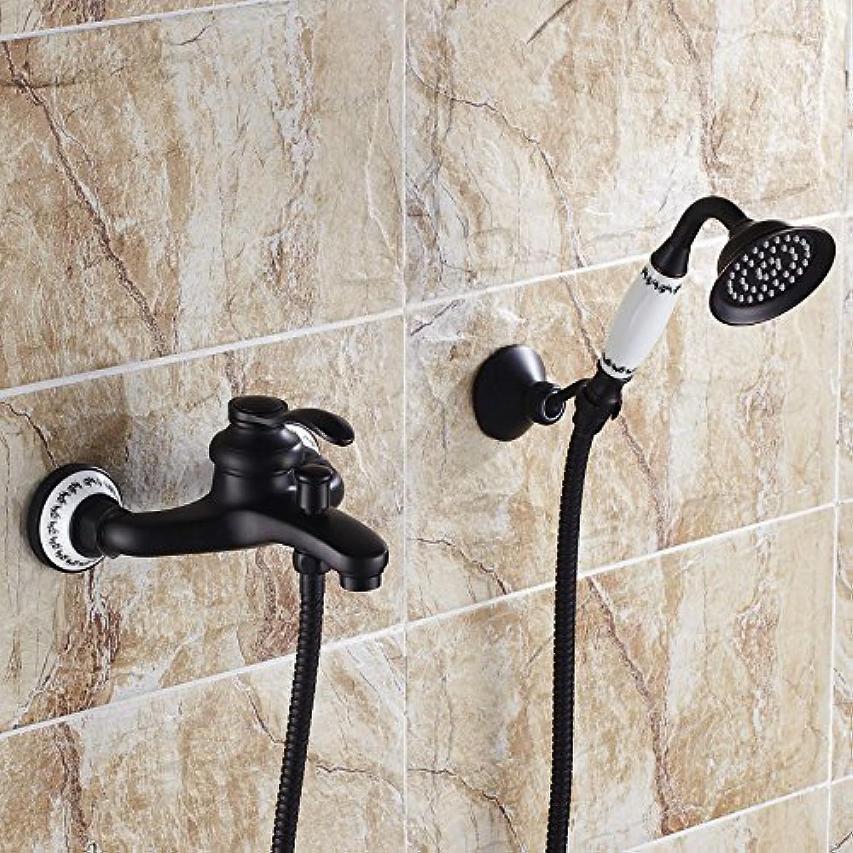 Bijjaladeva Wasserhahn Bad Wasserfall Mischbatterie Waschbecken Waschtisch Armatur für BadezimmerSchwarz Dusche Kit Wand - Einfache Regendusche Wasserhahn Bad Dusche Kit Wand-F