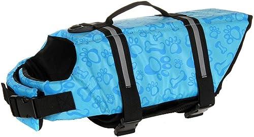 Mallofusa Dog Life Jacket Adjustable Life Preserver for Dog Pet Life Saver with Good Buoyancy & Rescue Handle