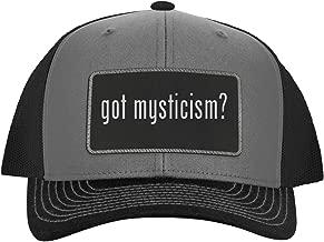 One Legging it Around got Mysticism? - Leather Black Metallic Patch Engraved Trucker Hat