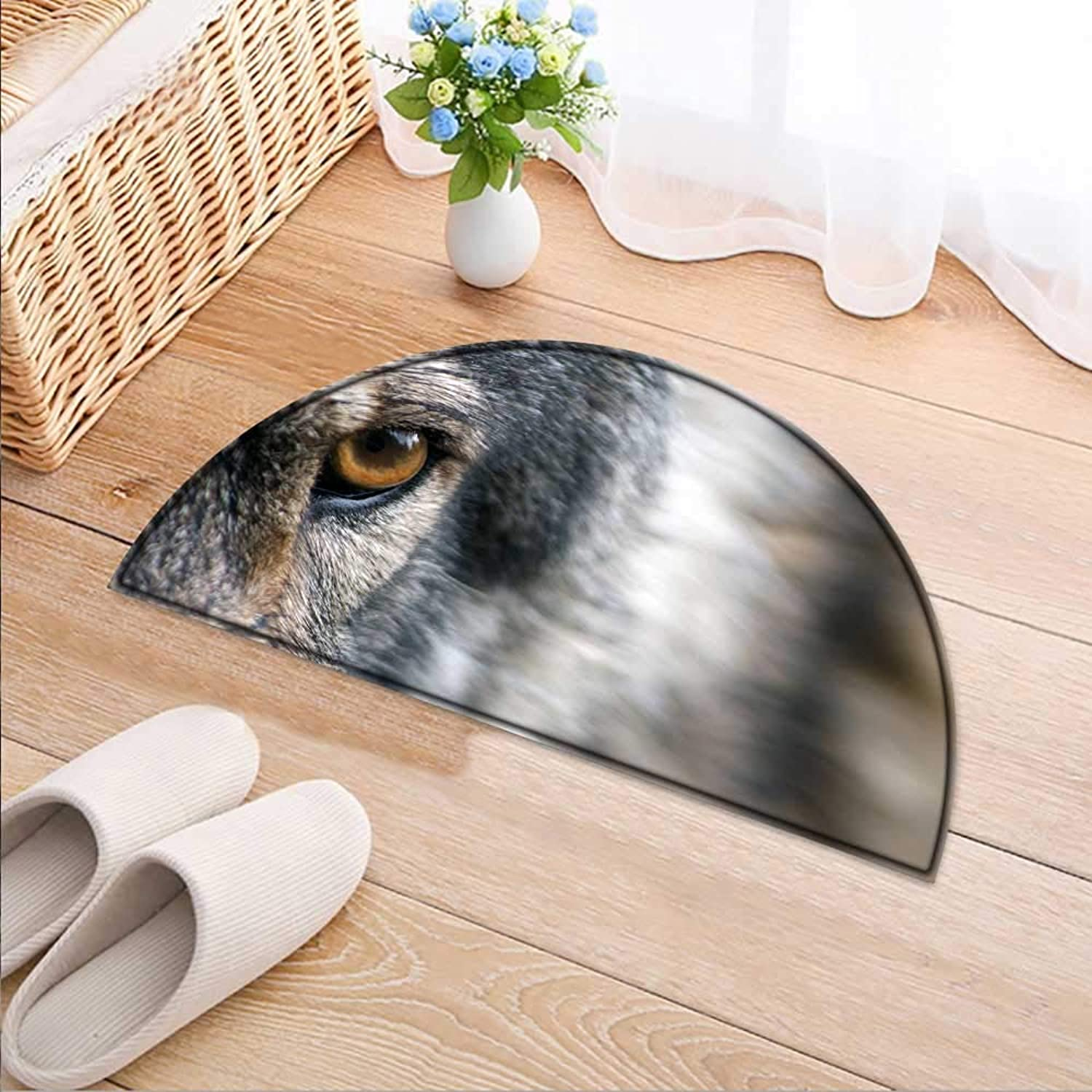 Entrance Hall Carpet The Shiny Wolf's Glasses Non Slip Rug W47 x H32 INCH