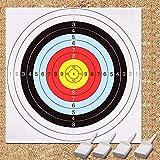 GEEKHOM Bersaglio per tiro con l'arco, 60 cm, bersaglio per pistola e arco, 10 confezioni di carta, 4 perni