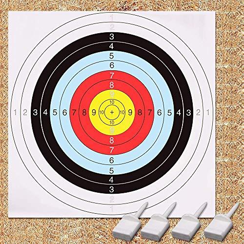 GEEKHOM dianas para tiro con arco, 60 cm x 60 cm dianas de Tiro, conjunto de blancos de tiro (10 piezas, 4 pines)