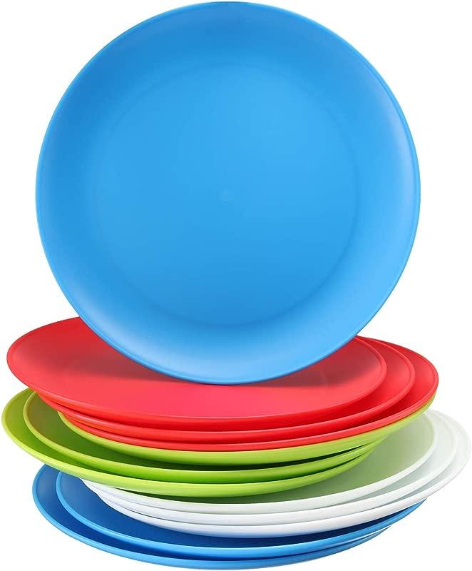 Set Of 12 Plastic Kids Plates 9 Inch Kid Plates Reusable Kids Plate Dinner Plastic Plates For Kids BPA Free Food Safe Assorted Colors Kid Plates Microwave Dishwasher Safe