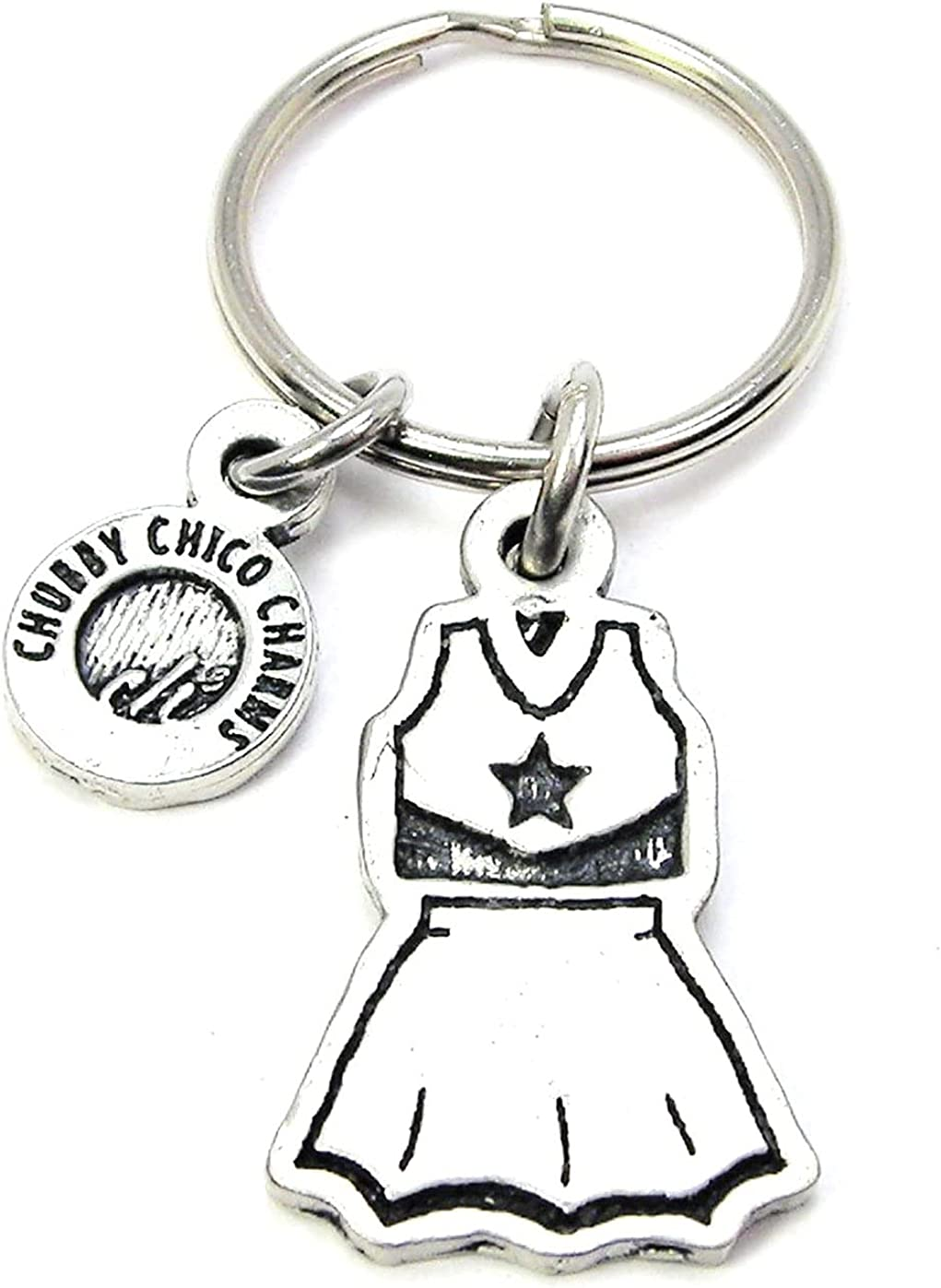 ChubbyChicoCharms Cheerleader Uniform Pewter Charm On Stainless Steel Keyring Key Ring Key Chain Keychain for Women, Men, Teens, Young Adults, School Sports, Football