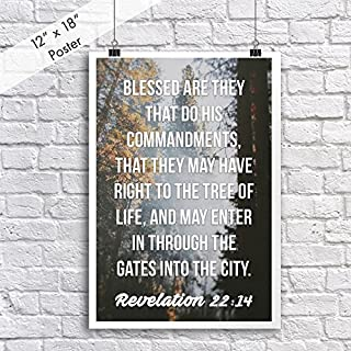 Christian Poster Bible Verse Revelation 22:14 Sunlight In Trees | 18-Inches By 12-Inches | Motivational Inspirational Educational Religious | Premium 100lb Gloss Poster Paper | JSC665