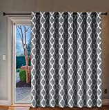 H.VERSAILTEX Extra Wide Blackout Curtain 100x84 Inches Thermal Insulated Curtain for Sliding Glass Door -Grommet Top Patio Door Curtain - Moroccan Tile Quatrefoil Pattern, Grey and White