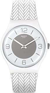 83903d5336c Swatch Unisex Silicone Band Plastic Case Quartz Silver-Tone Dial Analog  Watch SUOW131