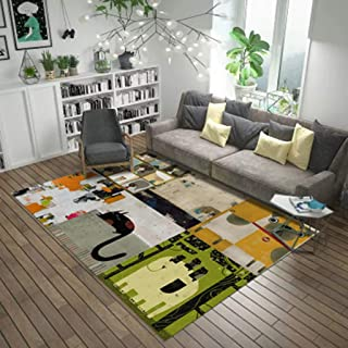 CJW Nordic Full Bed Bed mat Art Carpet Simple Carpet Living Room Coffee Table Abstract Rectangular Carpet Color : A, Size : 3.9X5.2