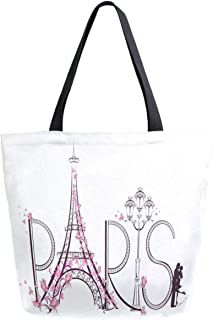 ZzWwR Trendy Romantic Paris Eiffel Tower Butterfly Extra Large Canvas Shoulder Tote Top Handle Bag for Gym Beach Weekender Travel Shopping