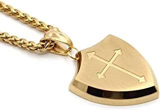 Lemu Jewelry Mens Shield Armor of God Joshua 1:9b,Faith Cross Stainless Steel Pendant Necklace