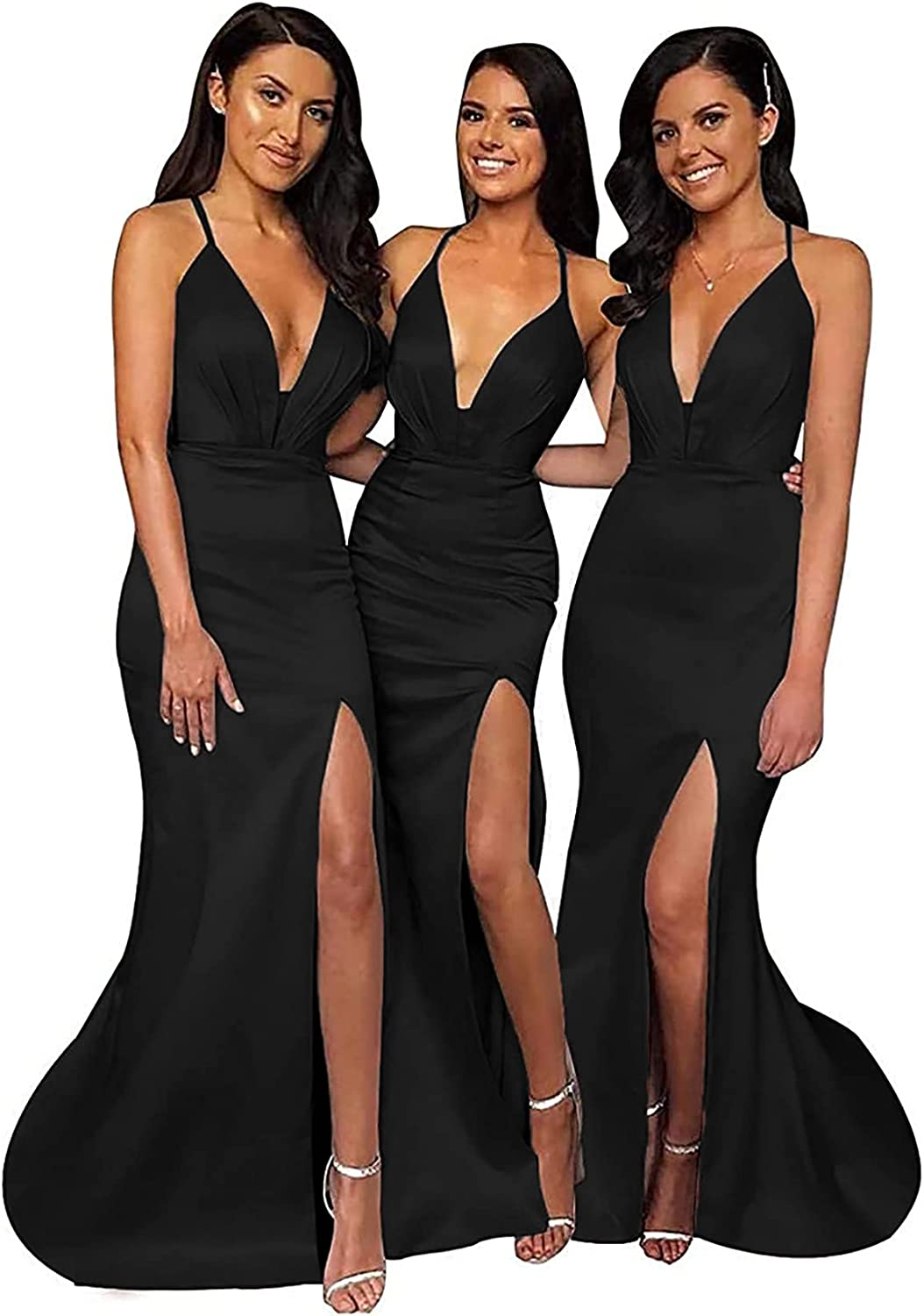 Bridesmaid Dresses Long for Women Formal Mermaid Prom Dress Satin V Neck Party Gowns with Slit