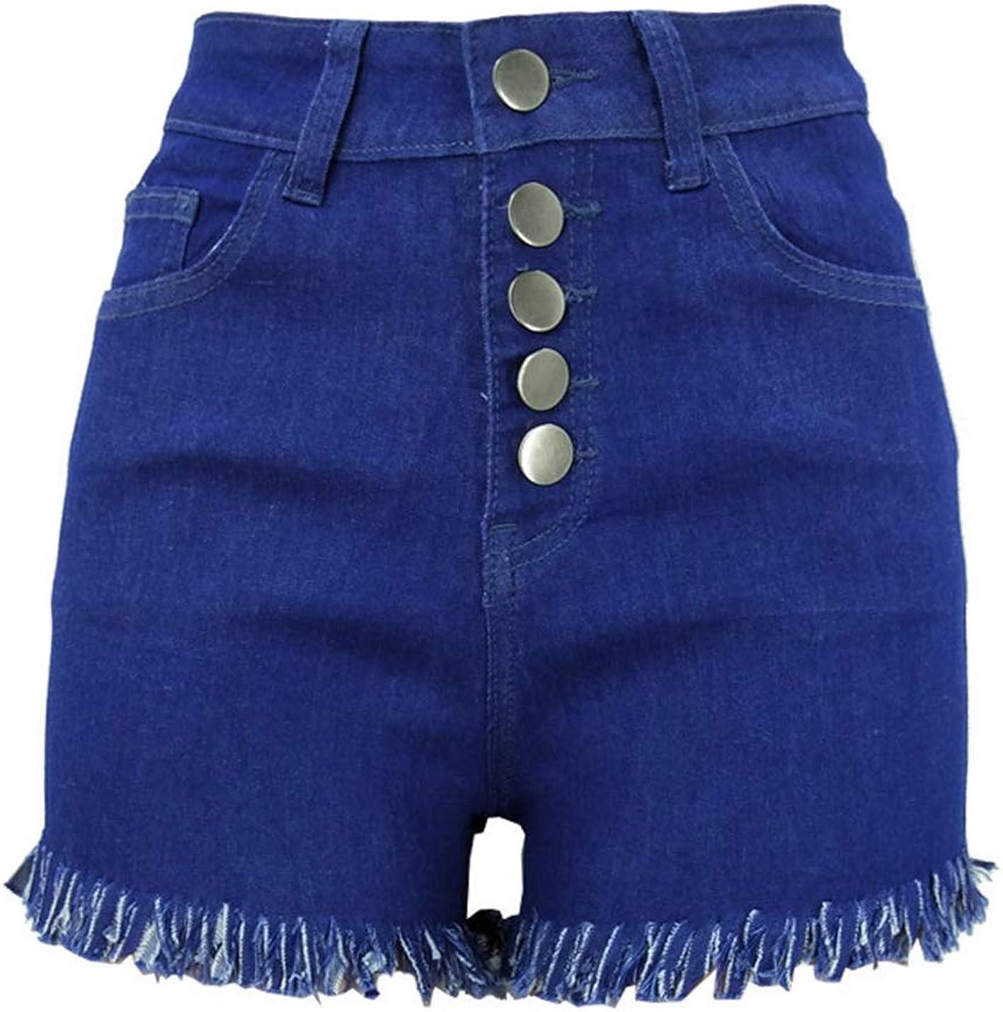 PAODIKUAI Women Sretchy High Waist Jeans Shorts Fringe Hem Denim Shorts