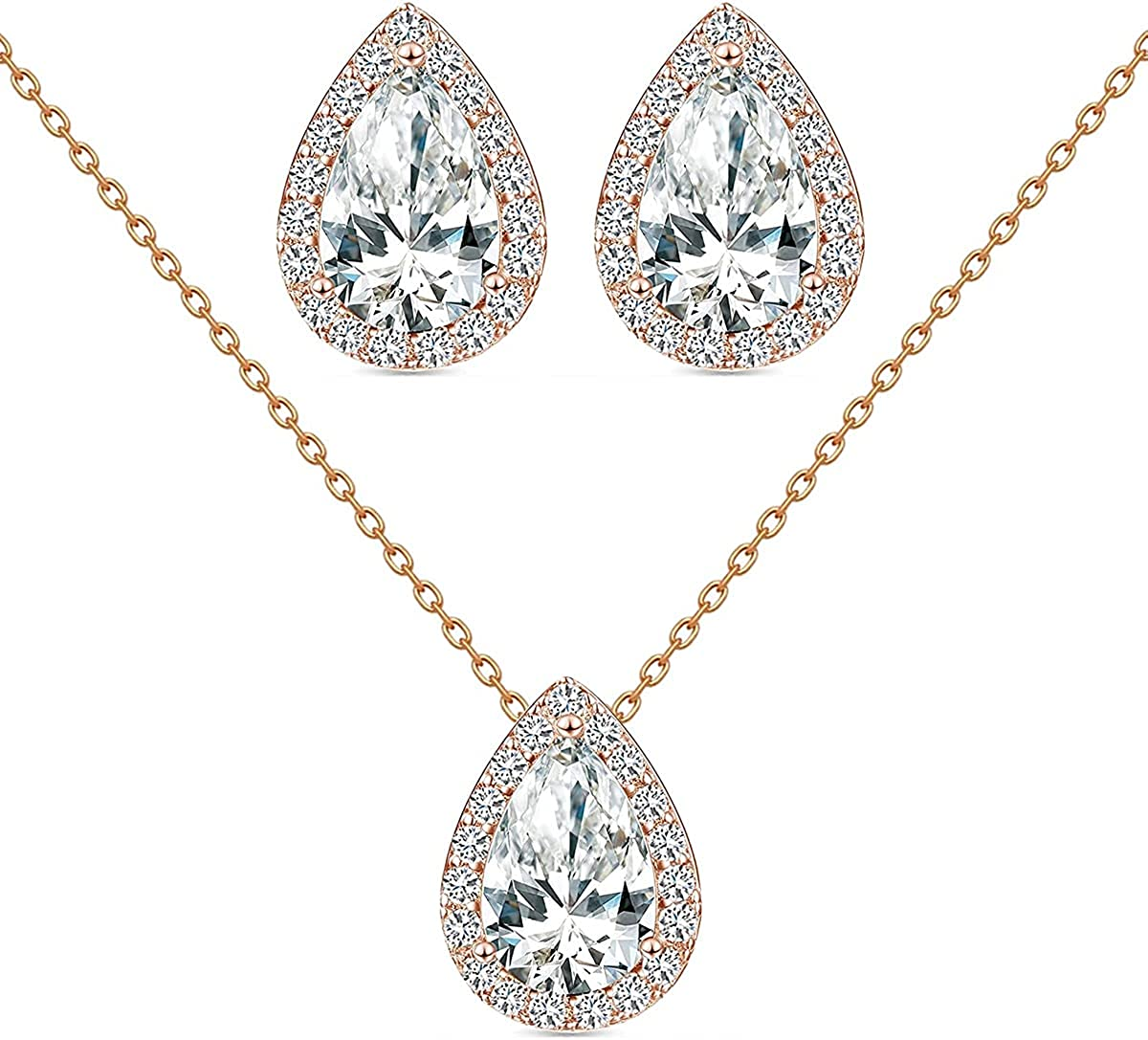 MissDaisy-Bridal Jewelry Set for Women Teardrop Crystal Cubic Zirconia CZ Halo Necklace Earrings Set for Girls Wedding Party Prom Bride Bridesmaids Gift