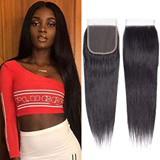 Brazilian Virgin Human Hair Lace Closure Straight 4x4 Free Part Silk Straight Human Hair Top Lace Closure 8A Grade 10 inch Natural Black Color(10''Closure, Straight)