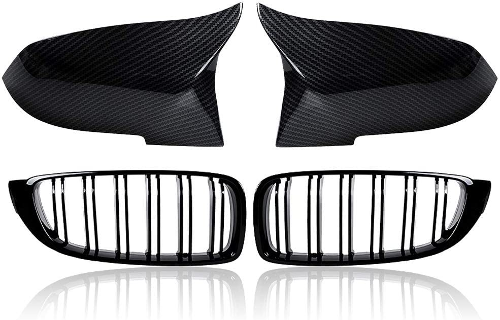 Glossy Black Front Kidney Grille + Manufacturer regenerated product Side National products Carbon Cover Mirror Fibe