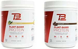 TB12 Protein Bundle | Chocolate & Vanilla Plant Based Protein - Vegan, 1g Net Carb, Non-GMO, Dairy-Free, Sugar-Free, Sustainably Sourced Pea Protein (18 Servings / 1.33lbs)