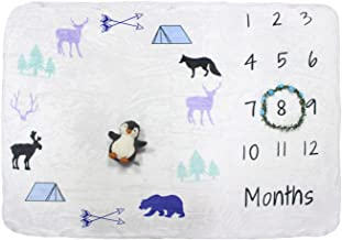Baby Monthly Milestone Blanket Large with Bonus Wreath, Penguin Plush & Cloth Book Soft Photography Background Blanket | Newborn Girls or Boys Photo Prop | Best Months Watch Me Grow