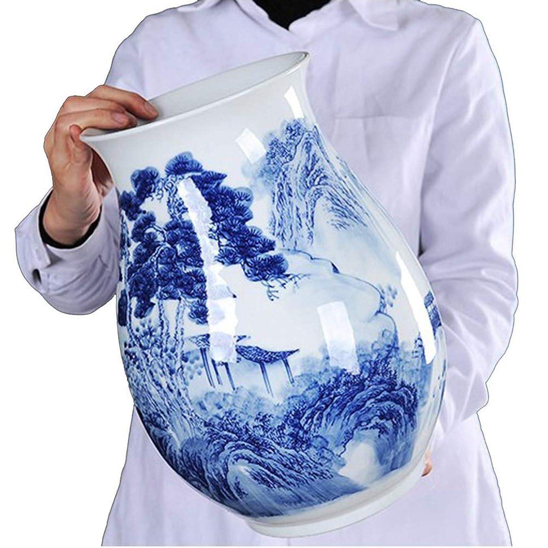 仮定するアマチュア前書き陶磁器の花瓶 LJIANW 陶製の花瓶ビンテージセラミック花瓶、中国のパターンの花瓶、手で描いた、家のための理想的な装飾、結婚式、パーティー、ジン?デ?ジェン (Color : Blue, Size : 1PCS)
