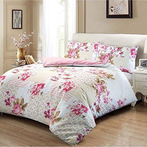 Set de fundas nórdicas 100% algodón con estampado floral de rosas.,