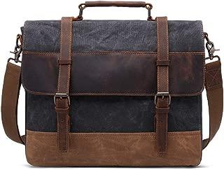 Mens Bag Messenger Bag Color: Brown Simple Retro Zipper Canvas 14 Inch Computer Bag Briefcase Shoulder Bag High capacity