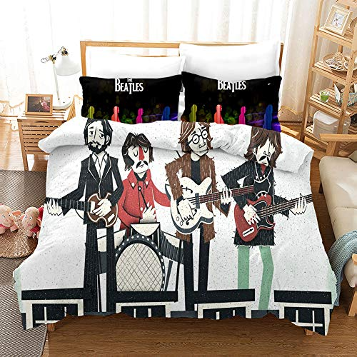 Probuk The Beatles Rockband - Juego de ropa de cama 100% microfibra, ropa de cama con funda de almohada (A-06,150 x 200 cm (80 x 80 cm)