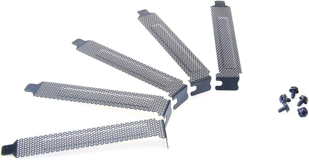 SMTHOME 5 PCI Slot Cover Dust Filter Bracket Expansion Blank Plate Shield Metal Black
