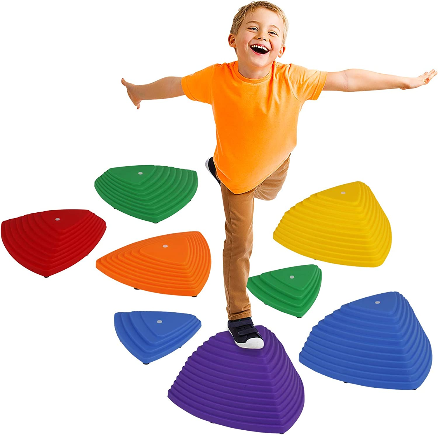 Little Dynamo   Balance Stepping Stones for Kids   Set of 8 Hilltop and Riverstones (4 Sizes  XL L M S) with Grip Upgrade   Montessori and Gross Motor Skills Toys for Toddlers   Gymnastics for Kids