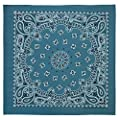 100% Cotton Western Paisley Bandanas (22 inch x 22 inch) Made in USA - Mirage Blue Single Piece 22x22 - Use For Handkerchief, Headband, Cowboy Party, Wristband, Head Scarf - Double Sided Print