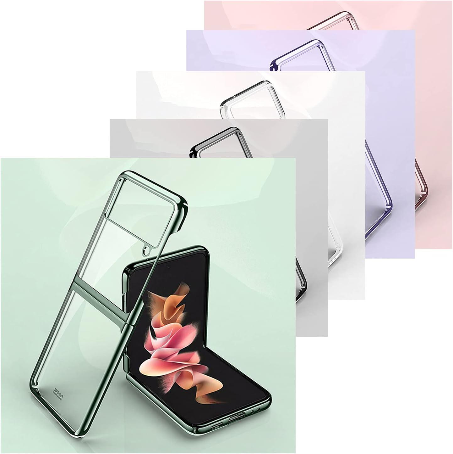 LELEBEAR Galaxy Z Flip 3 Case, Samsung z Flip 3 Case, PU Leather Clear Crystal Transparent Plating Case (Transparent-Green)