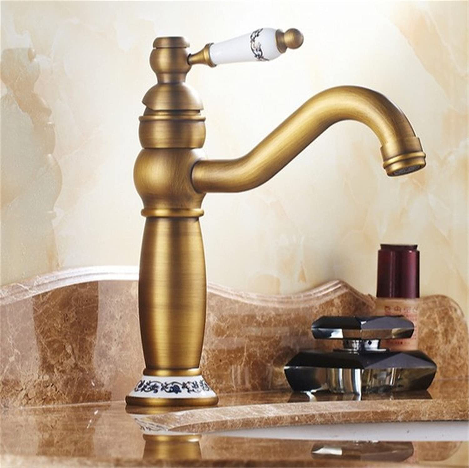 SYW European antique bathroom leader bluee and white porcelain bathroom all copper faucets washbasin cold and hot faucets.