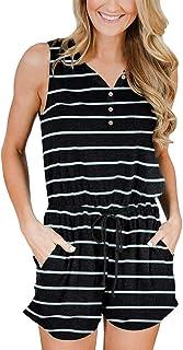 YIBOCK Women's Summer Sleeveless Button Down Striped...