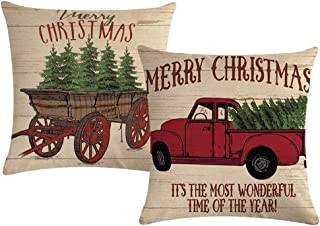ULOVE LOVE YOURSELF Merry Christmas Pillow Cover Home Decorative Cushions with Christmas Tree and Vintage Red Truck Pattern Throw Cushion Case 17 x 17 inch,2Pack (Christmas Tree)