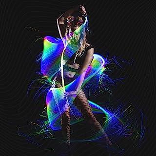 GloFX Space Whip Remix [PROGRAMMABLE LED Fiber Optic Whip] 6 Ft 360° Swivel - Super Bright Light Up Rave Toy | EDM Pixel F...