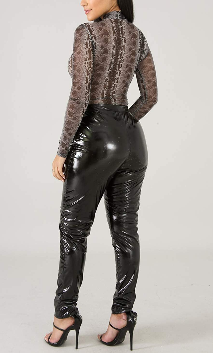Baonmy Leather Pants Women Winter PU Faux Leather Leggings for Women Fleece Lining High Waist Leather Pant