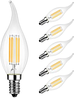 Flame Tip LED Filament Bulb E12 Candelabra Base, LVWIT Dimmable 4.5W (40W Equivalent) B10 Candle Light Bulb, 3000K Soft White 6-Pack