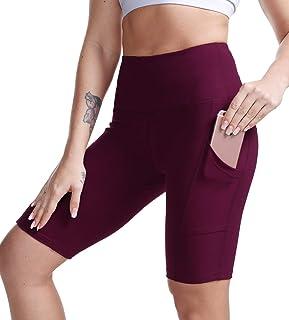 "TYUIO Women's 8"" High Waist Yoga Shorts,Running Workout Active Shorts Half Tights w Pockets"
