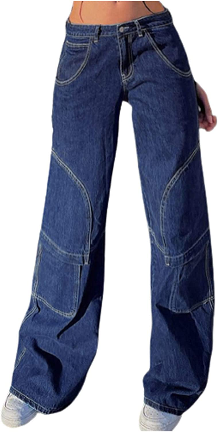 Long Denim Pants for Women Middle Waist Wide Leg Jeans with Multi Pockets Trendy Loose Trousers