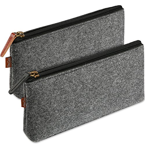ProCase Pencil Bag Pen Case Felt Students Stationery Pouch Zipper Bag for Pens Pencils Highlighters Gel Pen Markers Eraser and Other School Supplies -2 Pack Small Black