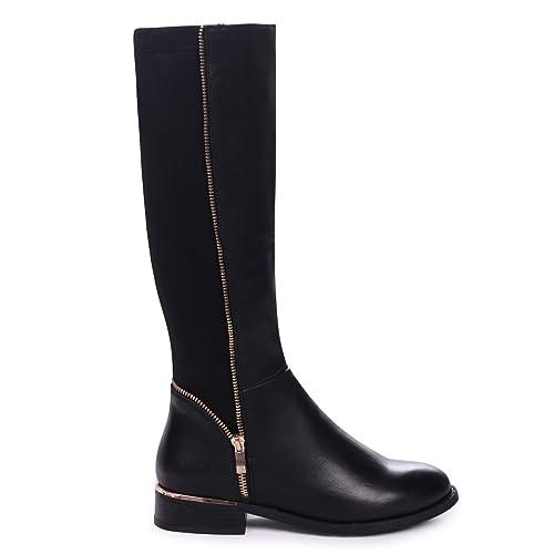 d962b05a0e3 Natasha - Black Nappa Long Boot with Gold Zip   Heel Detailing and Lycra  Back Panel