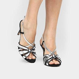 Sandália Couro Shoestock Salto Fino Nó Feminina