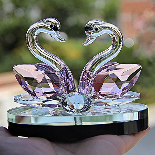 sunnymi Kristall Schwan Zuhause Dekor I Love You Dekor Sammlung Weihnachten Zimmerdekoration Schwan Kristallglas Figur Ornament (D, 60mmx80mm)