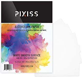 Alcohol Ink Paper 25 Sheets - Pixiss Heavy Weight Ink & Watercolor Paper 5x7 Inches (127x178mm), 300gsm, Extra Smooth, for Watercolor and Alcohol Ink
